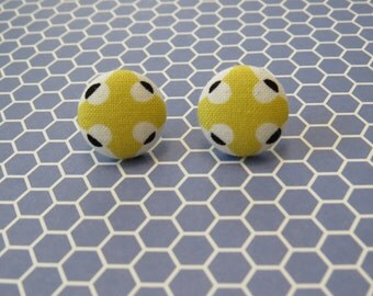 Cross and Dot Fabric Button Earrings