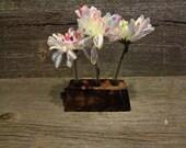 Reclaimed wood mini test tube triple bud vase