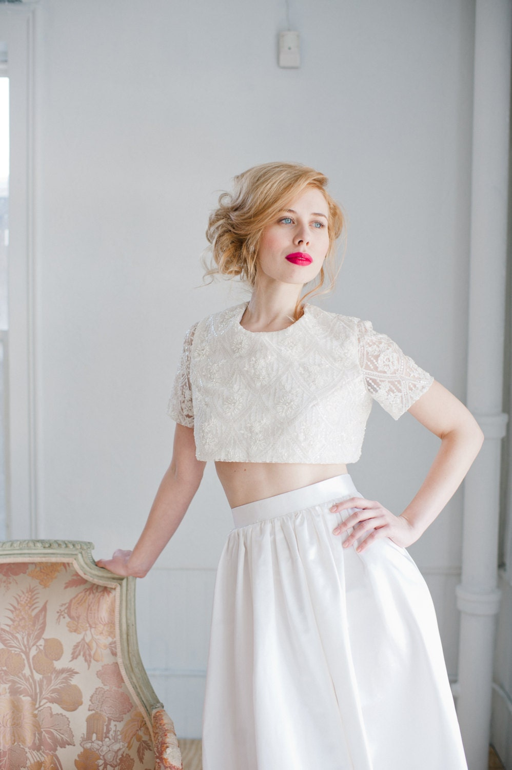 Opal beaded lace crop top wedding dress handmade wedding for Crop top wedding dress