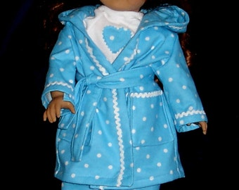 Blue and White Polka Dot Pajama, Robe, Slippers Set Fits American Girl Dolls or Similar 18 Inch Doll