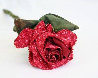 Red Rose Stem, Fabric Flower, Bridal Bouquet, Wedding Flowers, Fiber Art Flower, Eco Friendly Bouquet, Unique Home Decor, Floral Centerpiece