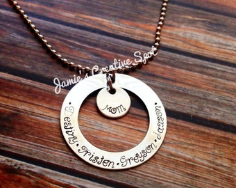 Personalized Hand Stamped Necklace- Hand Stamped Circle Washer Disc with Birthstone- Hand Stamped Jewelry