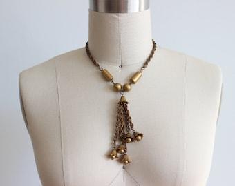 Vintage Gold Tone Bells Necklace