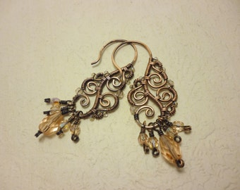 Earrings antiqued copper and czech glass beads - wire wrapped jewelry