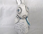 Alice In Wonderland Rabbit -Decoupatch Art Doll  Collectable Ooak
