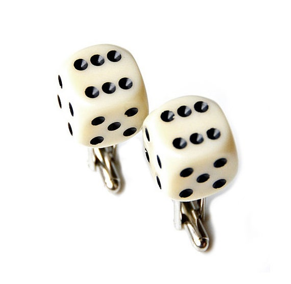 Faux Ivory Dice Cufflinks Set, Gift Box Included, Choose Your Numbers, Guaranteed