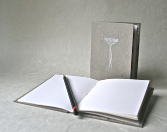 Handmade Hardcover Chapbook with Ornate Silver Letterpress for Writing and Drawing