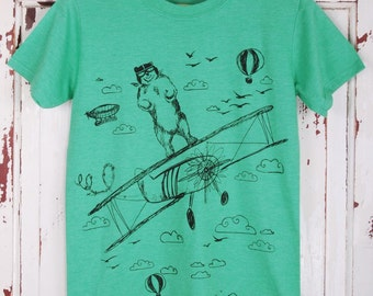 Bear & Aeroplane T-Shirt - Bear T-Shirt aviation flying bear t-shirt animal t-shirt