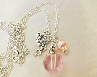 Perfume Bottle Pendant Necklace Light Pink Glass with Pearl  Womens Gift  Handmade