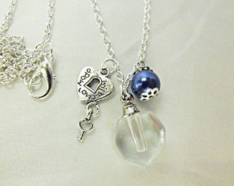 Perfume Bottle Pendant Necklace, Clear Glass With Blue Pearl And Charm,  Womens Gift Handmade