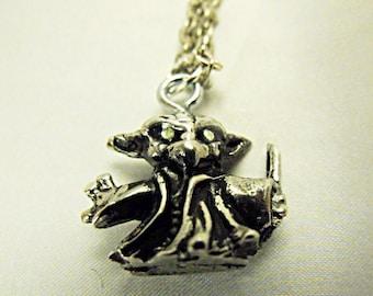 Silver Pendant  Necklace,    Star Wars Yoda Pendant, With Green Peridot Rhinestone Eyes  Mens Womens Gift Handmade