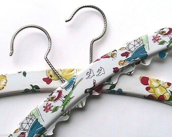 French 1960s Adorable Child Hangers - Colorful Fairy Tales Motifs - Lot of 2 - Perfect Condition