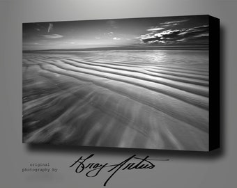 Black and White MODERN SEASCAPE on CANVAS Gallery Wrapped Stretched, Signed and Ready to Hang