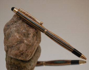 Handmade Tablet Stylus Pen, 24 kt Gold Plating with Red and Yellow and Blue Color Wood