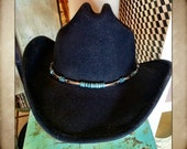 Scala Black Wool Western Hat with Silver and Turquoise Band size medium to large