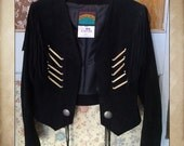 Vintage Black Suede Fringe Southwestern Jacket with wood beading and silver conchos