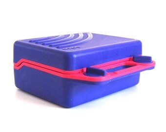 "Igloo Lunchbox ""Kool Kit"" Cooler Pink Purple Plastic Lunch Box Vintage 1990s"