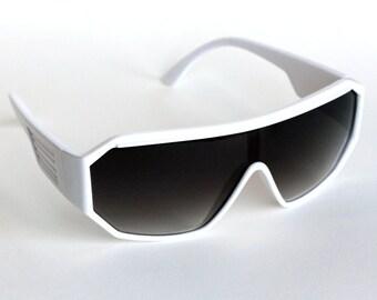Rasslor Retro White Shield Sunglasses
