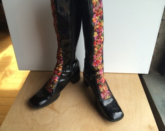 60's Vinyl Embroidered gogo boots .