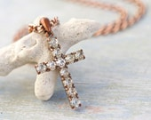 Rhinestone Encrusted Cross on Copper Chain Necklace