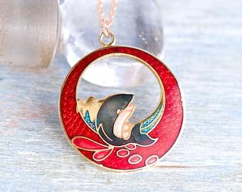 Splashy Whale Necklace Art Nouveau - Enamel Pendant on a Chain