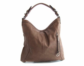 Leather Tote Shoulder Bag Handbag in Vegan Leather Taupe Handmade - the Veneta - sale with coupon code TRACBAG30OFF345