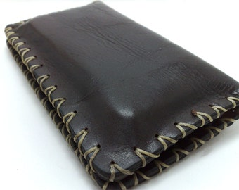 Hand stitched leather wallet for  iPhone 7 cell phone case / wallet in brown and beige waxed thread OOAK /cards/ cash/ FREE MONOGRAMMING