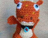 Made to order, Hand crocheted Wallykazam Norville Dragon like Amigurumi Doll