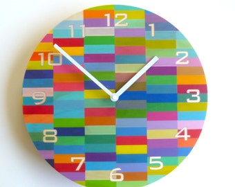 Objectify Color Block Wall Clock with Numerals - Medium Size