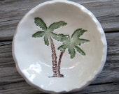 Small Hand Painted Palm Tree Bowl / kiln fired /Beach Life / Gift / Shower Gift / housewarming