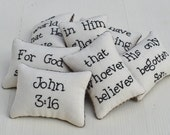 John 3 16 Decorative Pillows - Christian Bowl Fillers - Easter Decor - Religious Tucks - Bible Verse - Scripture - Black Tan Gingham