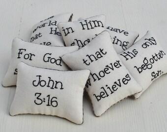 John 3 16 Decorative Pillows - Christian Bowl Fillers - Religious Home Decor Bible Verse Tucks - Scripture God so Loved - Black Tan Gingham
