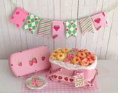 RESERVED FOR KAREN Miniature Shabby Chic Pink Picnic Basket With Strawberry Muffins, Thumbprints, And Strawberry Cookies And A Bunting
