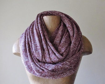 MAROON Chunky Scarf - Marled Cabernet Infinity Scarf - Cozy Speckled Oversized Scarf - Womens Scarf