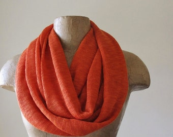 DARK ORANGE Infinity Scarf - Sweater Scarf - Knit Tube Scarf - Fashion Circle Scarf