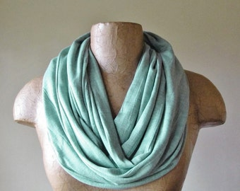 Icy Mint Green Circle Scarf - Loop Scarf - Extra Wide Ice Green Jersey Infinity Scarf - Eternity Scarf