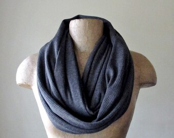 CHARCOAL GREY Sweater Scarf - Ribbed Knit Infinity Scarf - Grey Circle Scarf, Loop Scarf, Eternity Scarf, Winter Scarf