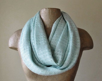 MINT Infinity Scarf - Lightweight Sweater Knit Circle Scarf - Pale Mint Scarf - Loop Scarf