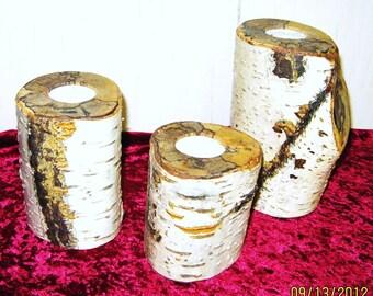 BIRCHLOG TEA CANDLES - Set of 3 - Birch log tea candles - Reclaimed natural birch
