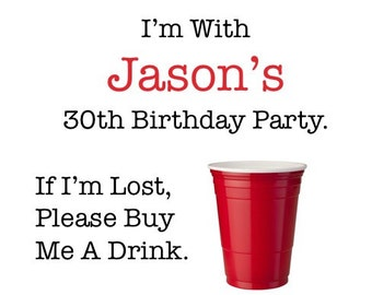 30th Birthday Party - Red Solo Cup Temporary Tattoos - Dirty 30 Party Favors