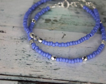 Periwinkle/Silver Beaded Bracelets