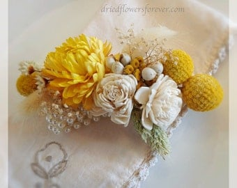 Wrist Corsage - Natural Dried & Preserved Wedding Flowers -  ivory yellow craspedia billy balls sola - Sunny Collection