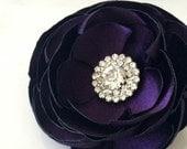 Purple hair flower Eggplant hair flower Wedding hair flower Hair accessories Bridal accessories Prom Flower headpiece Rhinestone hair clip