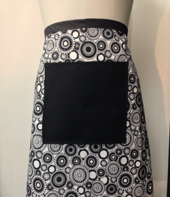 Customizable half apron black and white with light pink trim two lengths to choose from