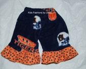 Auburn Fleece Pants with Orange/Navy Polka Dot Ruffles