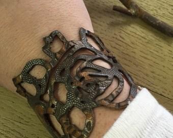Leather Rose Bracelet