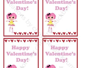 Lalaloopsy - Crumbs Sugar Cookie Printable Valentine's Day Cards - INSTANT DOWNLOAD