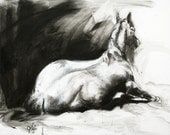 Horse Posture - Original Charcoal Drawing of a Horse