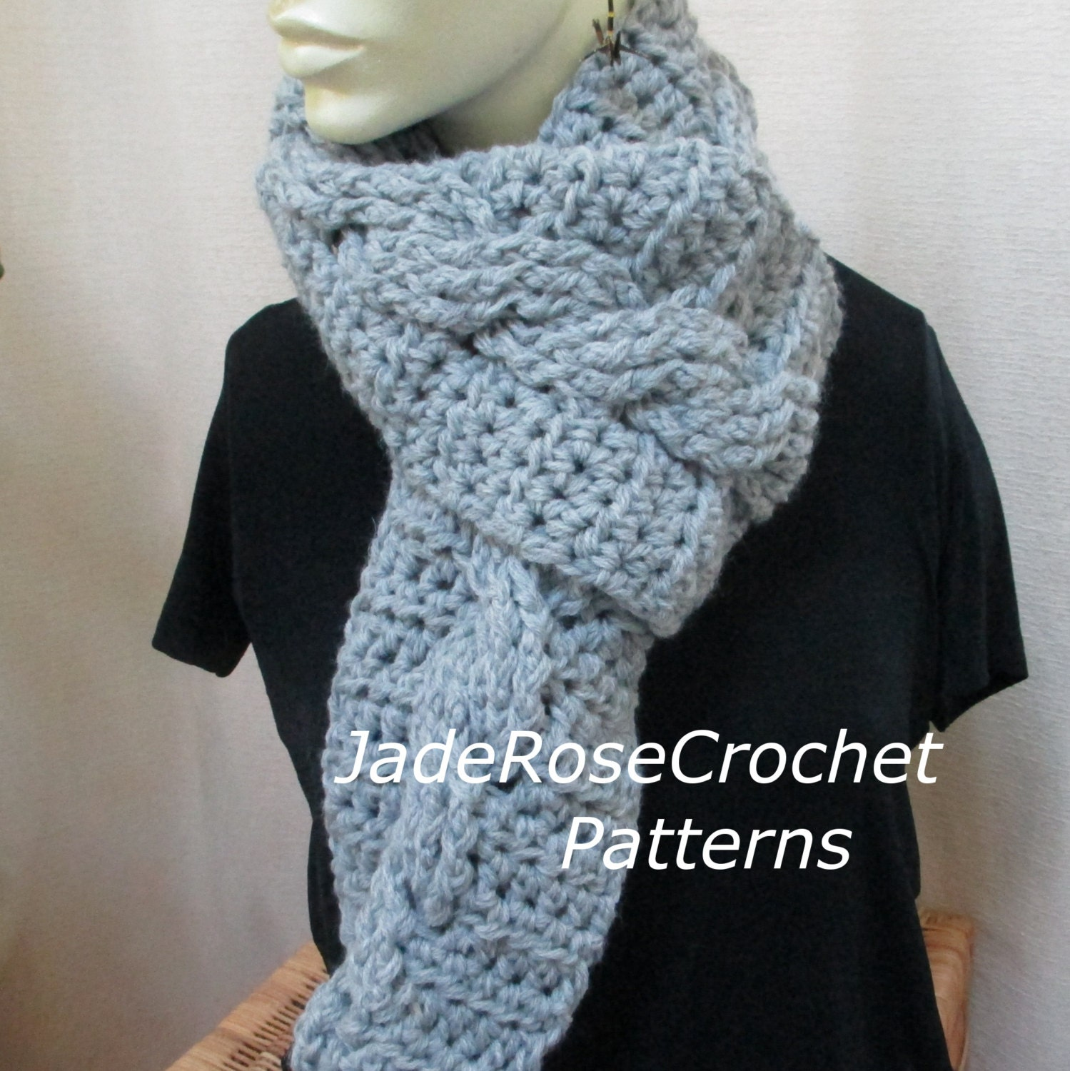 Crochet Scarf Patterns With Cables : Crochet Scarf Pattern Cable Crochet Scarf Pattern. Unisex