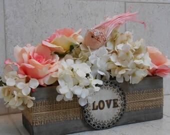 Wooden Wedding Planter Flower Vase Sweetheart Table Decor Barnwood Planter Box Rustic Wedding Decor  Wedding Decoration Planter